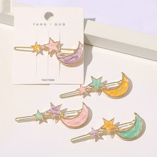 1PC Geometric Butterfly Flowers Stars Moon Hair Clips Women Blue Pink Styling Tools Colorful Pearl Hairpins For Hair Accessories
