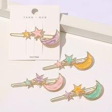 1PC geométrica mariposa flores estrellas Clips para el cabello de Luna mujer rosa azul herramientas perla de colores horquillas para cabello Accesorios