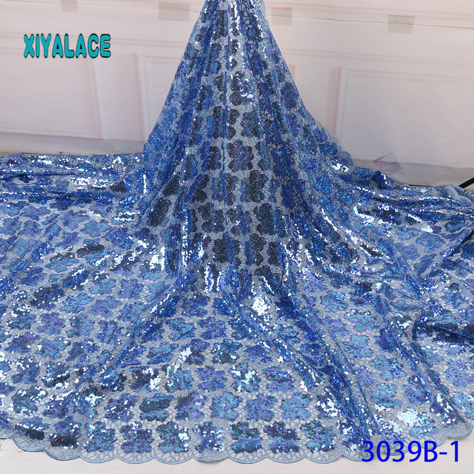 Lace Fabric African Latest 2019 High Quality Lace With Sequins French Lace Fabric Bridal Lace For Nigerian Party Dress YA3039B-1