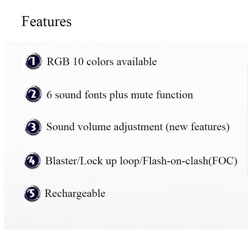 RGB Luke Lightsaber para Skywalker Sound Fonts y cambio de Color de 1 pulgada de diámetro-sólo Hilt - 6