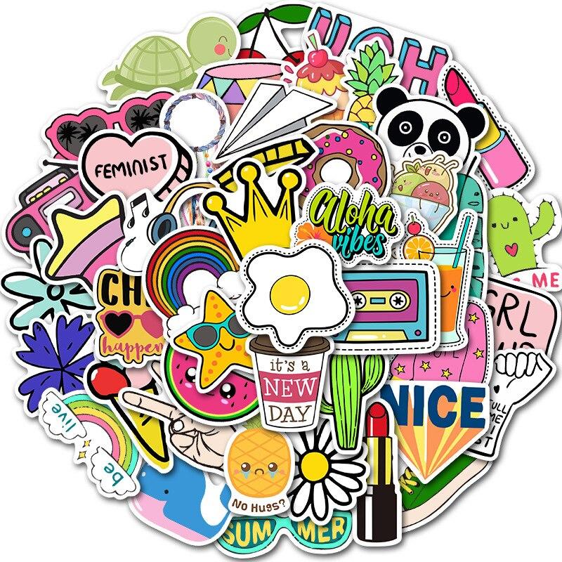50 PCS Cartoon Graffiti Stickers For Kawaii Girl Things On Laptop Fridge Phone Skateboard Suitcase Waterproof Computer Sticker