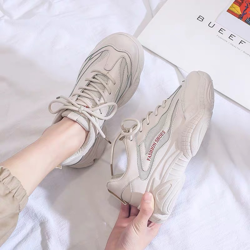 NEW Sneakers Women 2019 Breathable Mesh Casual Shoes Female Fashion Sneaker Lace Up High Leisure Women Vulcanize Shoes Platform