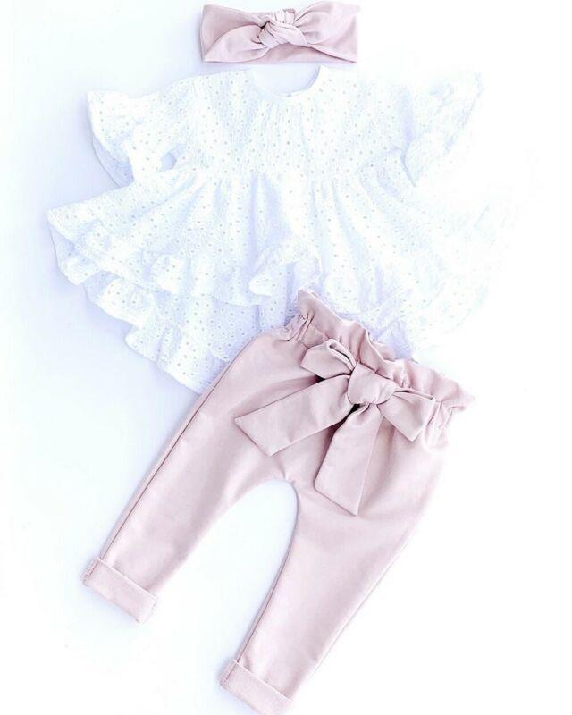 3Pcs Newborn Kid Baby Girl Clothes Short Sleeve Top T-Shirt Pants Outfit Set