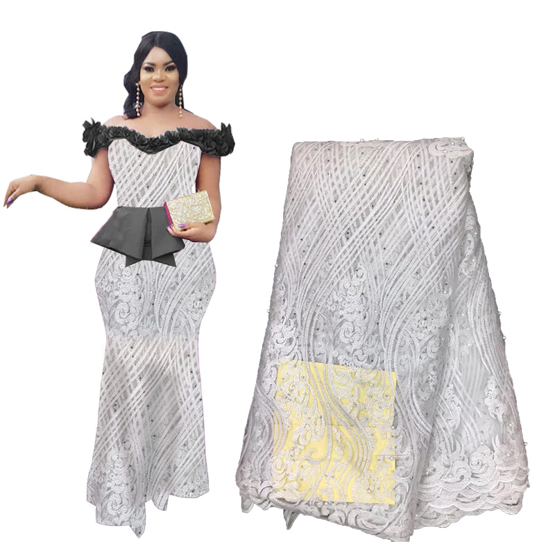 Best Selling African French Beaded Lace Fabric Lace White Lace Fabric Nigerian Tulle Lace Fabrics For Wedding Dress 2019