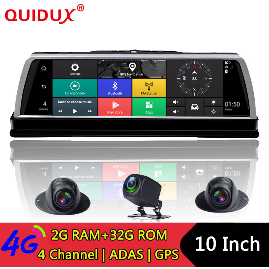 QUIDUX WIFI Dvr Cameras-Lens Drive-Recorder Rear-View-Mirror Android 360-Degree Panoramic-4ch