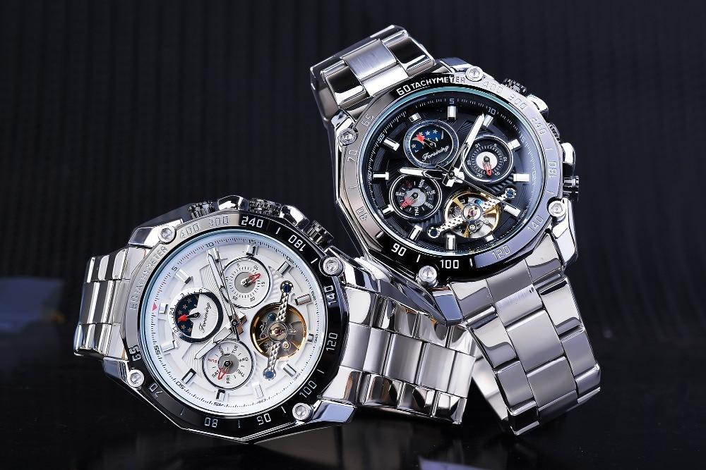 Forsining clássico preto masculino relógios mecânicos tourbillon