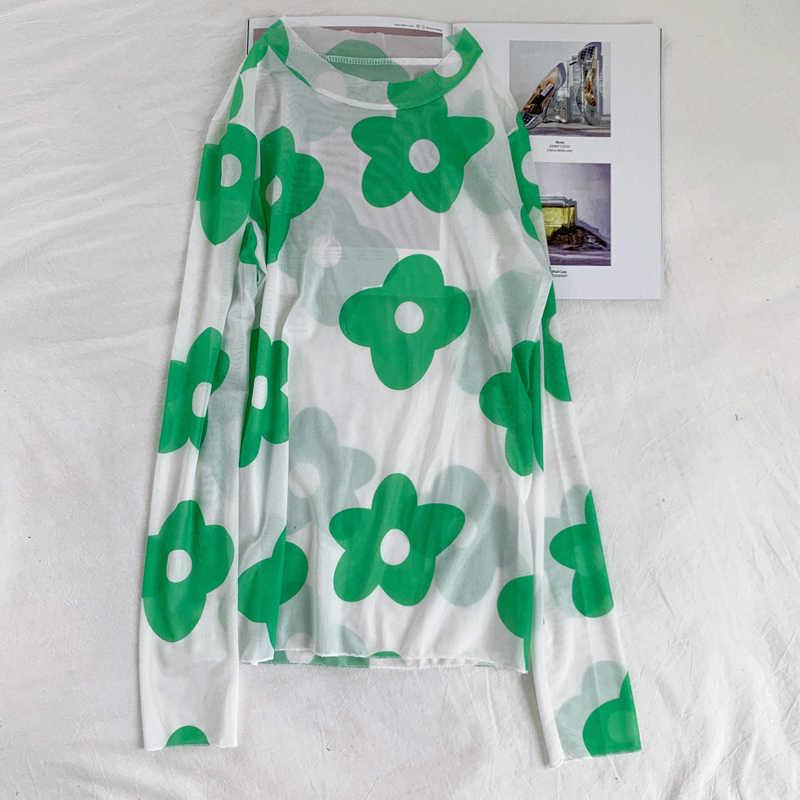 Floral Daisy Grafik Blume Druck Schlank Stretch Mesh Sehen Durch Transparent Sexy T Shirt T T-Shirt Top Koreanische Frauen Kawaii 90s