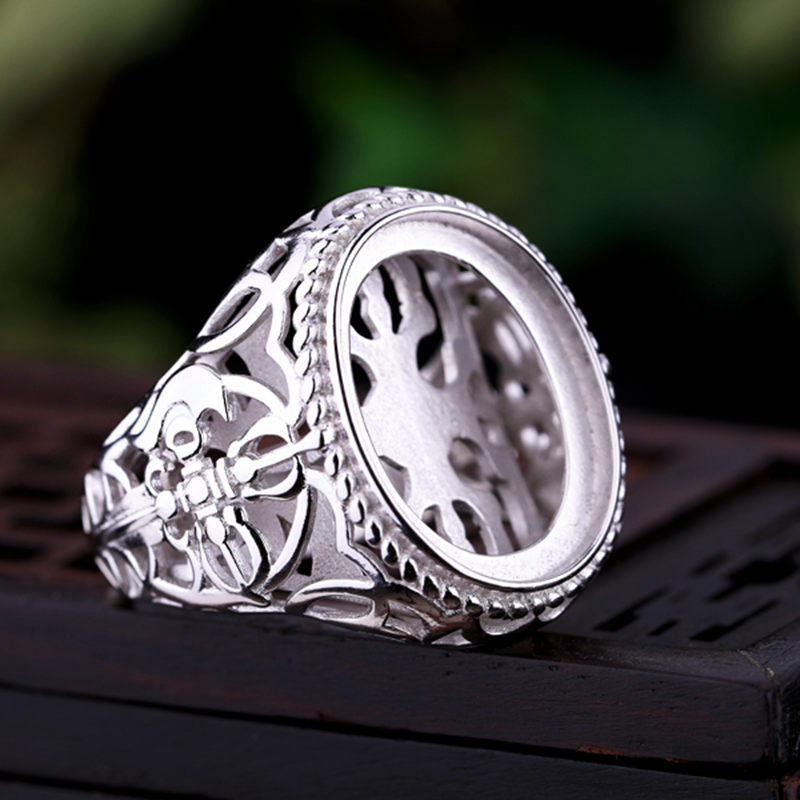 Bague en argent Sterling 925 pour hommes couleur or blanc 15x19mm ovale Cabochon Semi monture bague de fiançailles de mariage réglage de bijoux fins