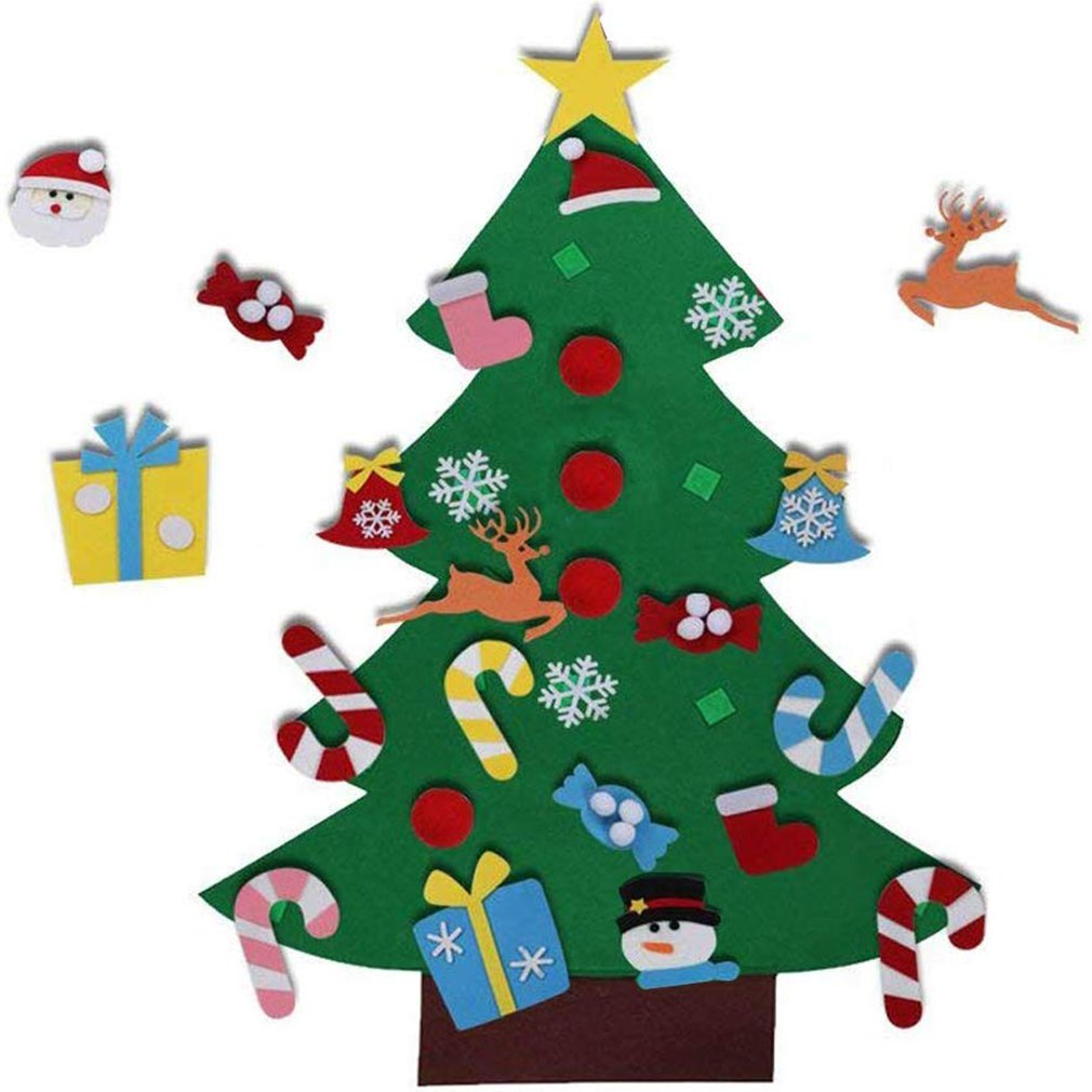 DIY Felt Christmas Tree New Year Gifts Kids Toys Artificial Tree Wall Hanging Ornaments Christmas Decoration For Home Navidad