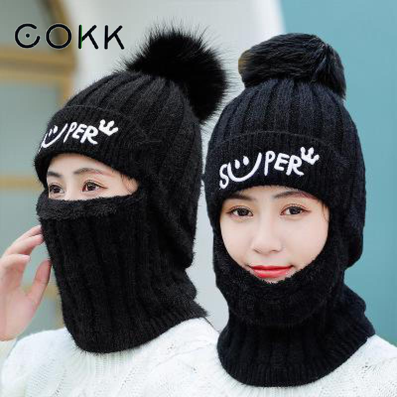 COKK Winter Hats For Women Knitted Cap With Pompom Velvet Thick Warm Ear Protect Beanie Hat Female Bonnets Stretch Hat Windproof
