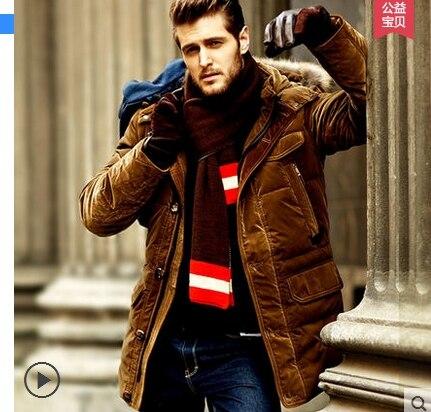 2019 hiver nouvelle laine col 90% canard vers le bas veste hommes affaires mode chaud épais court paragraphe bouffant manteau mâle marque vêtements - 5