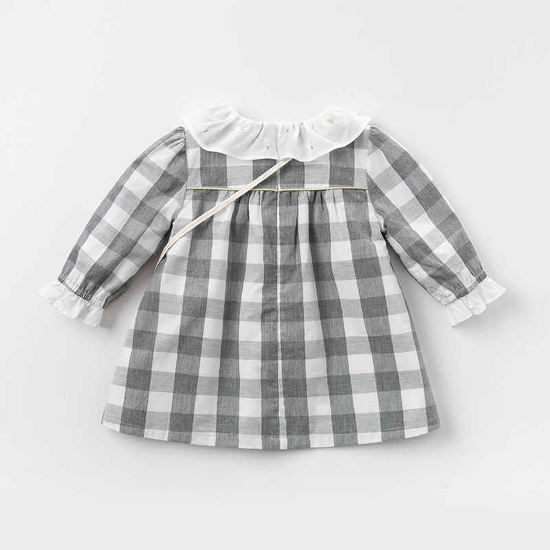 Dbm12830 데이브 벨라 봄 아기 소녀의 공주 귀여운 격자 무늬 드레스 작은 고양이 가방 파티 드레스 아이 유아 로리타 2pcs 옷