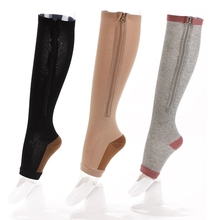 Zipper-Socks Leg-Support Compression Varicose Veins Women Prevent Slim 1-Pair Open-Toe
