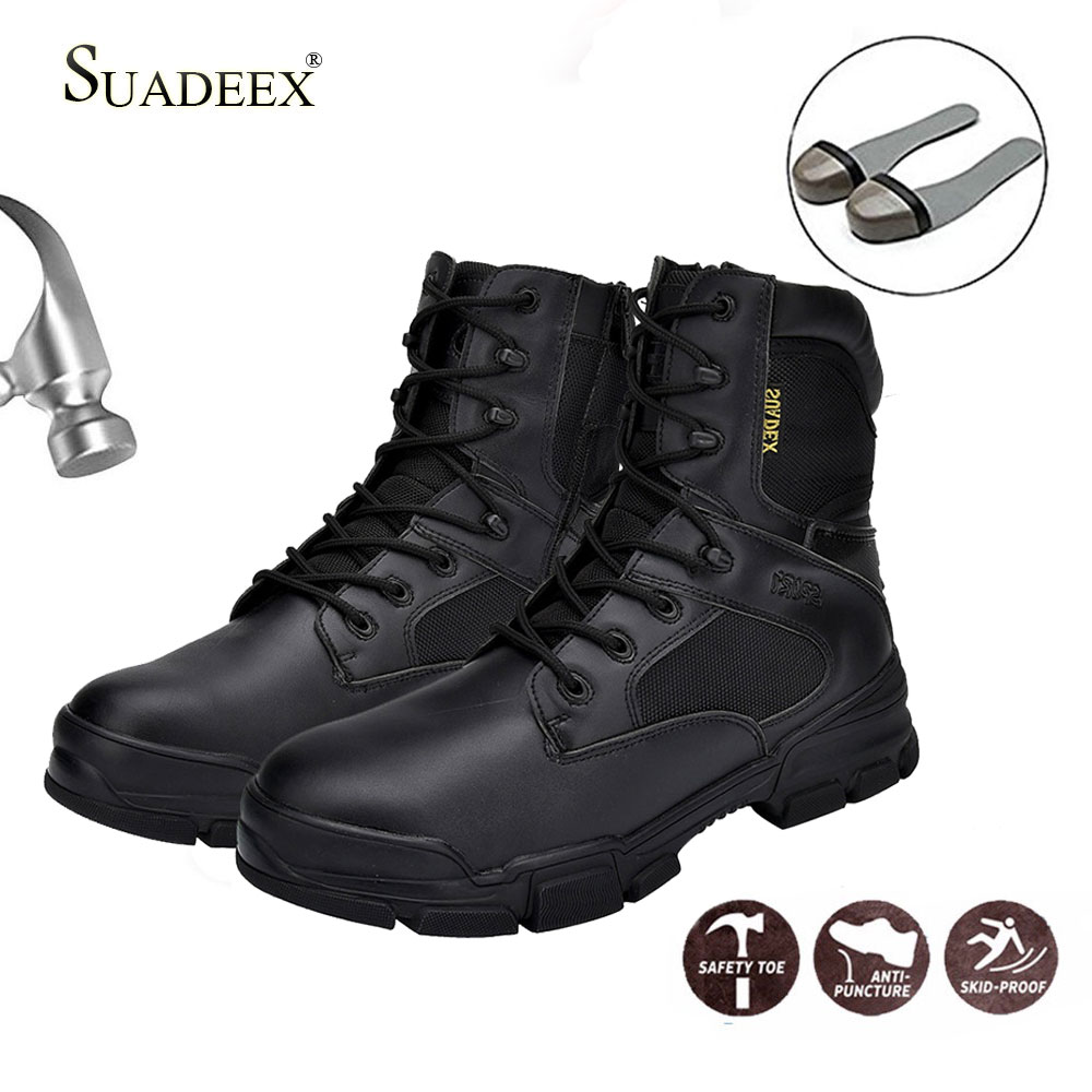 SUADEEX Men Winter Motorcycle Work Boots Tactical Mens Shoes Steel Toe Cap Waterproof Desert Combat Ankle Boot Army Plus Size