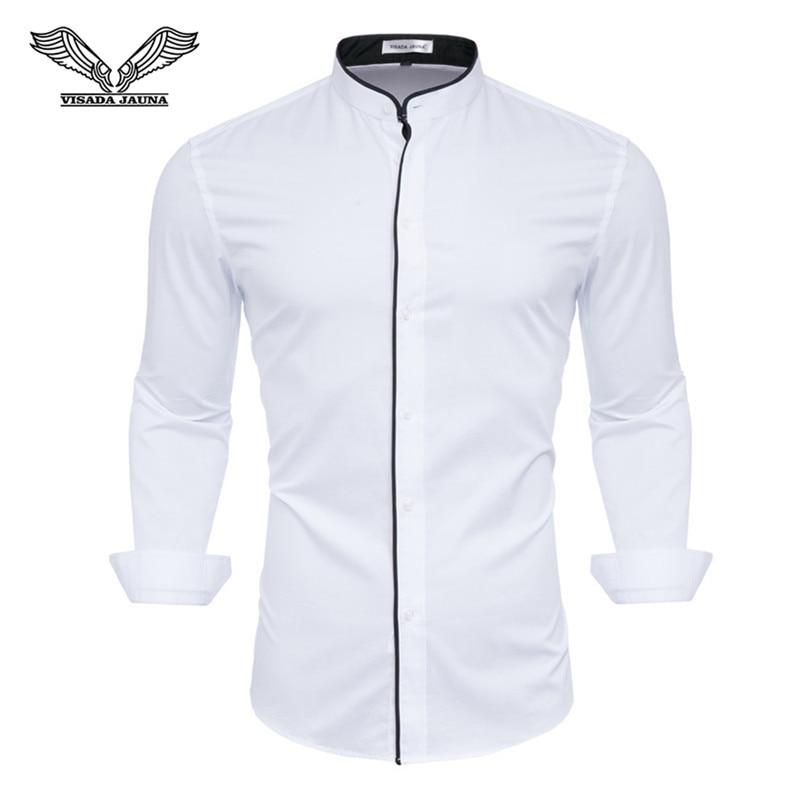 Brand 2019 Casual Shirt Men Long Sleeve Slim Fit Men's Casual Button-Down Shirt Formal Dress Shirts Men Clothes Camisa White