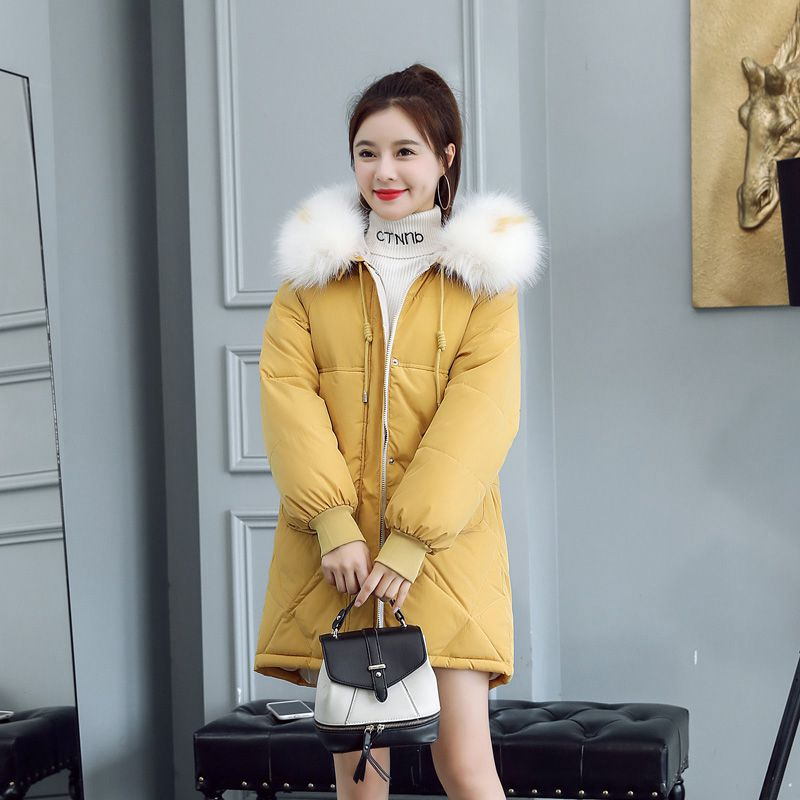 Women Winter Down Cotton Jacket New Fashion Hooded Fur collar Thickening Warm   Parkas   Casual Loose Female Overcoat NZYD257A