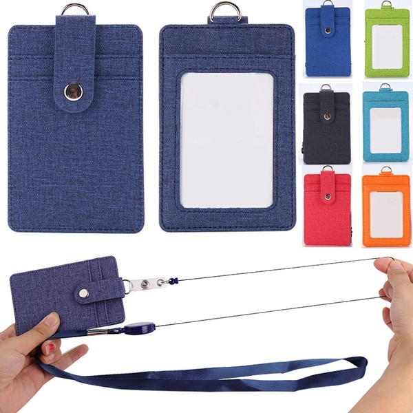 Creative Retractable Card Holders Women Men PU Bank Card Neck Strap Bus ID Holder Students Kids Identity Badge With Lanyard