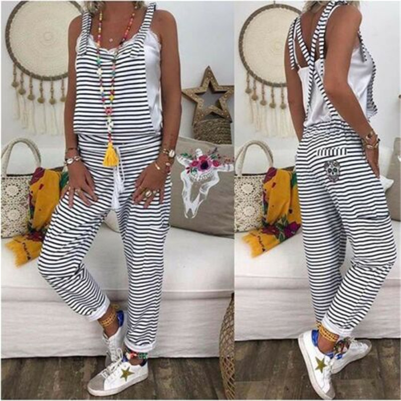 Women Dungarees Striped Jumpsuits New Lady Casual Harem Strap Loose Jumpsuit Baggy Striped Rompers Trousers Overalls Femme