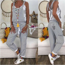 Women Dungarees Striped Jumpsuits New Lady Casual Harem Strap Loose Jum