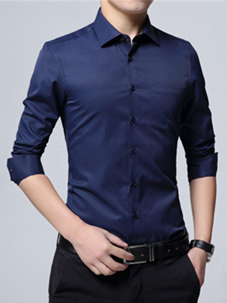 Shirts Men Man's-Clothing Blue Black Formal-Dress Slim-Fit Business Long-Sleeve White