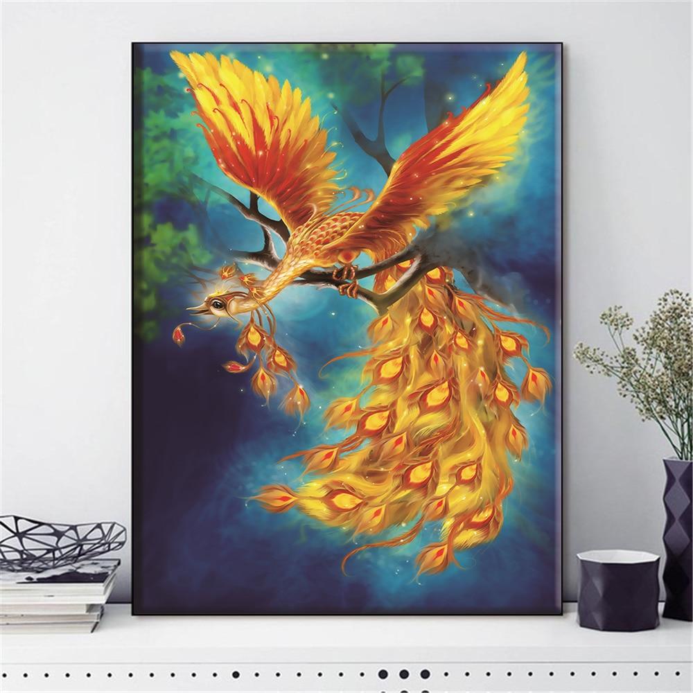 HUACAN nakış çapraz dikiş Phoenix hayvan kuş İğne setleri tam kitleri beyaz tuval DIY ev dekoru 14CT 40x50cm