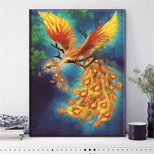 HUACAN Embroidery Cross Stitch Phoenix Animal Bird Needlework Sets For Full Kits White Canvas DIY Home Decor 14CT 40x50cm