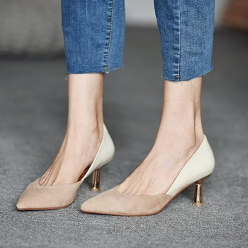 French high-heeled shoes women's 2020 autumn and winter new stiletto pointed apricot retro ladies single shoes shallow mouth carpaton autumn and winter new ladies rose red shallow buckle round toe super high heel shoes wedding shoes rose bridal shoes
