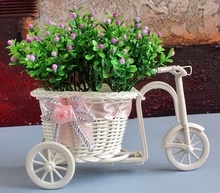 Tricycle flower basket rattan tricycle vase simulation small plastic weave float desktop home decoration