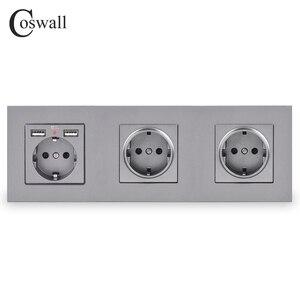 Image 4 - COSWALL 3 Gang Wall EUซ็อกเก็ตสายดิน + Dual USBชาร์จพอร์ตซ่อนนุ่มไฟLEDสีดำสีขาวPCแผง