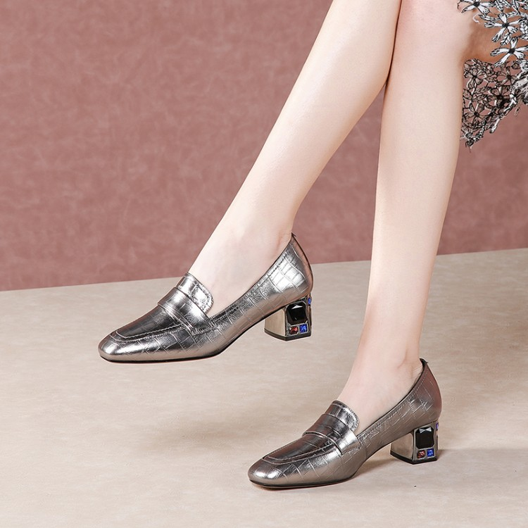 MLJUESE 2020 Women Pumps Autumn Spring Soft Cow Leather Square Toe Crystal Square Heel High Heels Lady Shoes Party Size 42