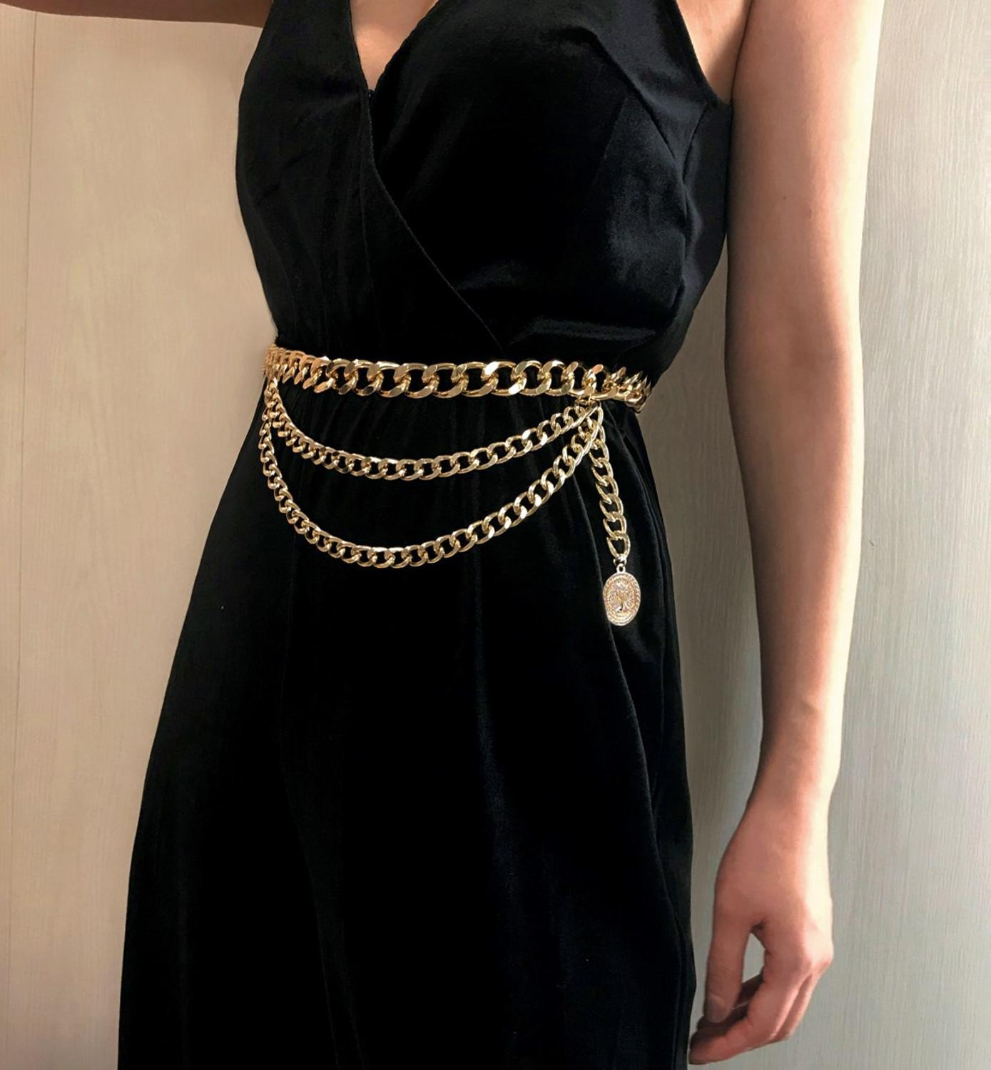 New Fashion Girls Metal Waist Chain Gold Plated Belt Decoration Belt For Dresses Women Circle Metal String Designer Belts