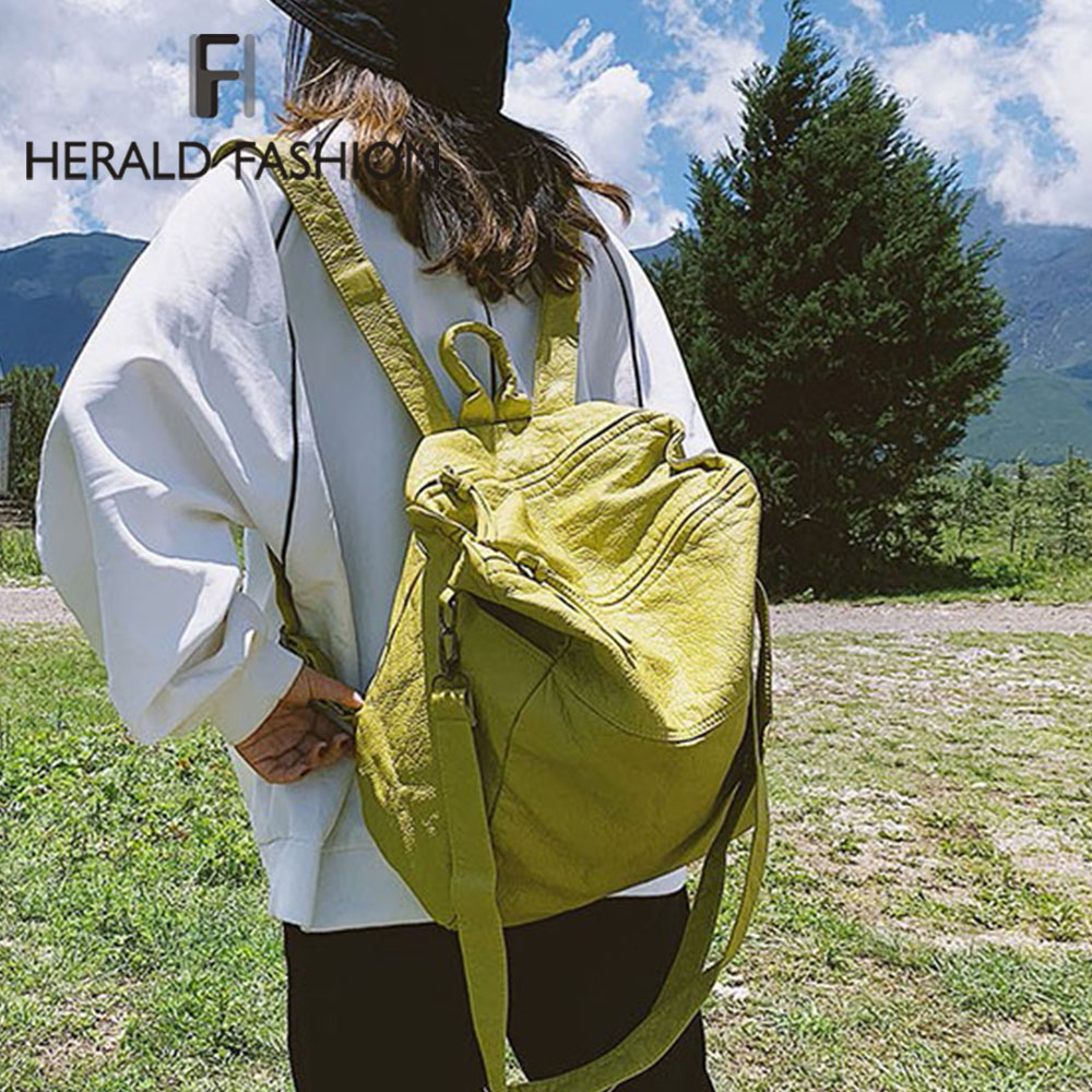 Herald Fashion Quality Soft Leather Female Backpack Solid Casual Ladies Backpack Large Capacity Travel Vintage Bag For Girls