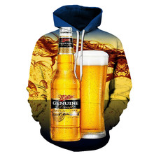 3D Autumn And Winter Hoodie Digital Printing Beer Casual Sweatshirt Fashion Street Men Women With The Same