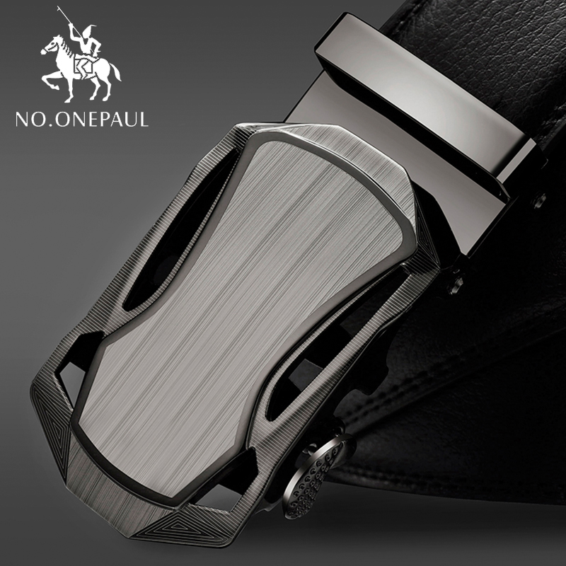 NO.ONEPAUL Leather Brand Black Belts Luxury Mens Belts Automatic Buckle Fashion Belts For Men Business Popular Male  Two Leather