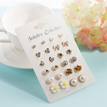 Best Selling 12 Pairs Of Earrings Set Fashion Stars Moon Love Small Popular Jewelry Flower