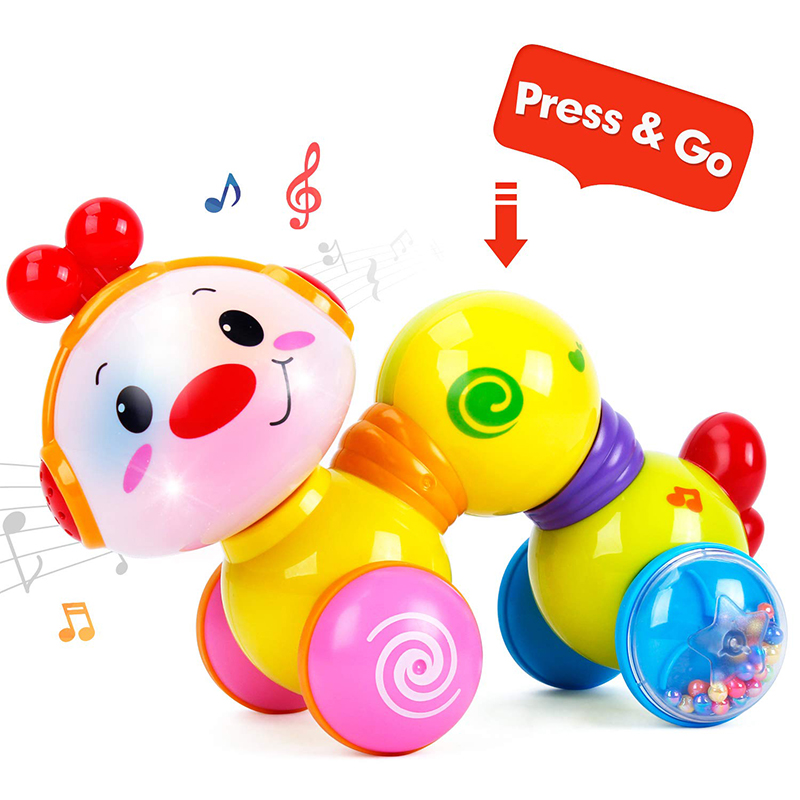 HOLA 997 Musical Toys For Baby 13-24 Months Early Learning Educational Baby Toys Press & Crawl Inchworm Toys For Children Gifts