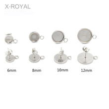 X-ROYAL 20Pcs/lot Inner Dia 6mm/8mm/10mm/12mm Stainless Steel Blank Bases Stud Earring Settings Cabochon Base DIY Charms Pendant 20pcs 12mm heart inner size stainless steel material simple style cabochon base cameo setting charms pendant tray t7 41