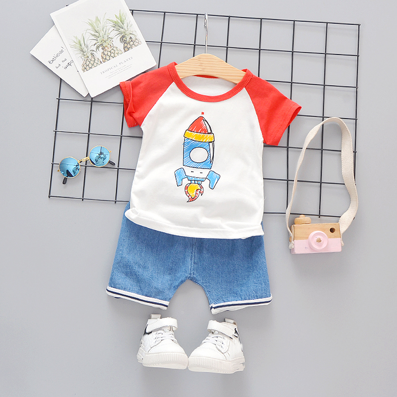 Baby Boys Clothes Summer Rocket Toddler Kids Clothing Infant Short Set Cotton O-neck T-Shirt Denim Shorts 1 2 3 4 Years