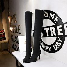 Bottes fines et extensibles en Lycra pour femmes, talons hauts, Sexy, au-dessus du genou, chaussures à bout pointu, cuissardes, collection printemps-automne 2021