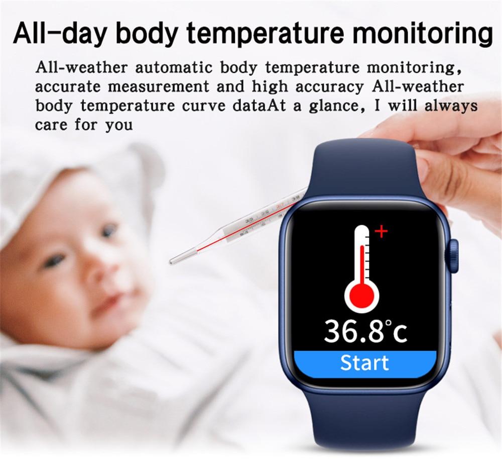 Hcb50921288c345a793f96a6f8174efbfW 2021 HW22pro Smart Watch Men Women Split Screen Display Original Smartwatch Body Temperature Monitor BT Call For Android IOS IWO