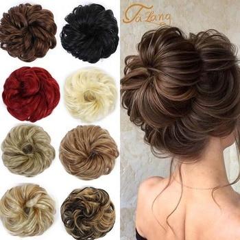 TALANG women curly wavy synthetic bun hair extension chignon hairpieces piece updo cover