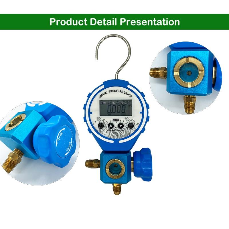 Tools : Digital  Manifold Pressure Gauge Refrigeration  Tester Vacuum Pressure Meter HVAC Tester Freon Pressure With sight glass