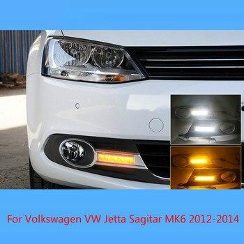 12V Car DRL Daytime running lights for Volkswagen VW Jetta Sagitar MK6 2012 2013 2014 fog light Lamp COver