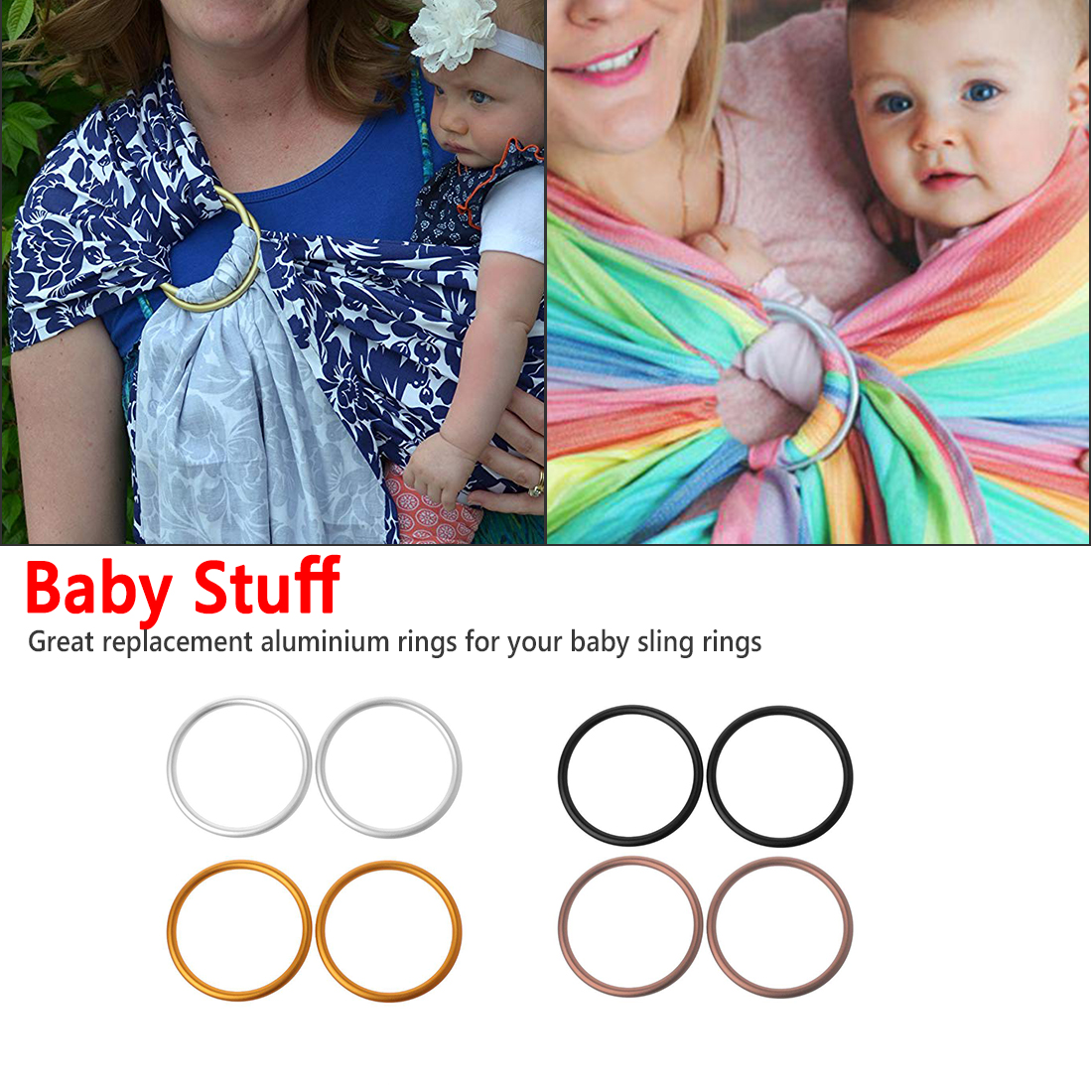 Premium Aluminum Rings For Baby Slings Baby Carriers Accessories 4 Colors For Baby Carriers & Slings