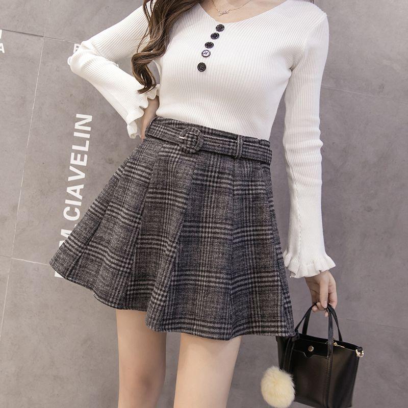 Vintage Women Skirt Slim High Waist Retro Plaid Autumn Winter Wool Warm Mini