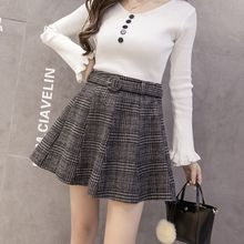 Vintage Women Skirt Slim High Waist Retro Plaid Autumn Winter Wool Warm Mini