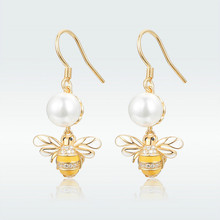 HOT SALE Earrings for Women 925 Sterling Silver Gold Color Bee with Pearl Drop Dangle Earring Brincos Argent Femme Bijoux HVE018