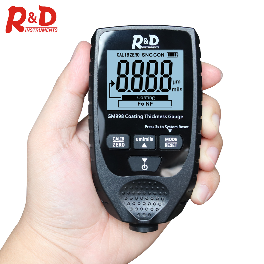 R&D GM998 Backlight Film Thickness Gauge Car Paint Tester Coating Thickness Gauge With English&Russia Manual Fe&NF Paint  Tester