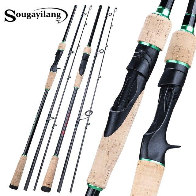 Soogayilang caña de pescar de fundición giratoria con 3 secciones, 1,8 2,4 M, ultraligera, portátil, para viaje