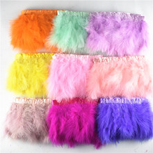 """10Meters Fluffy Marabou Feathers Trims with Satin Ribbon Width 6-8"""" Turkey Feather Fringe Clothing Plume Decoration Carnaval"""